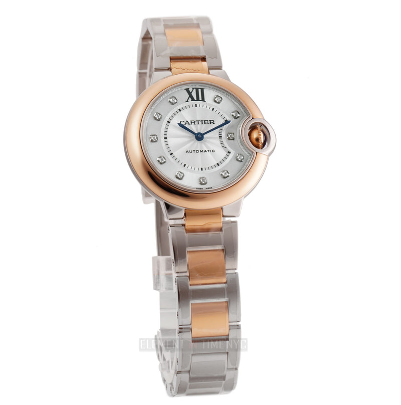 33mm Steel & 18k Rose Gold Silver Diamond Dial Automatic