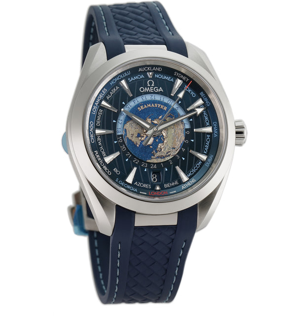 Aqua Terra 150m Co-Axial Master Chronometer GMT Worldtimer 43mm Blue Dial