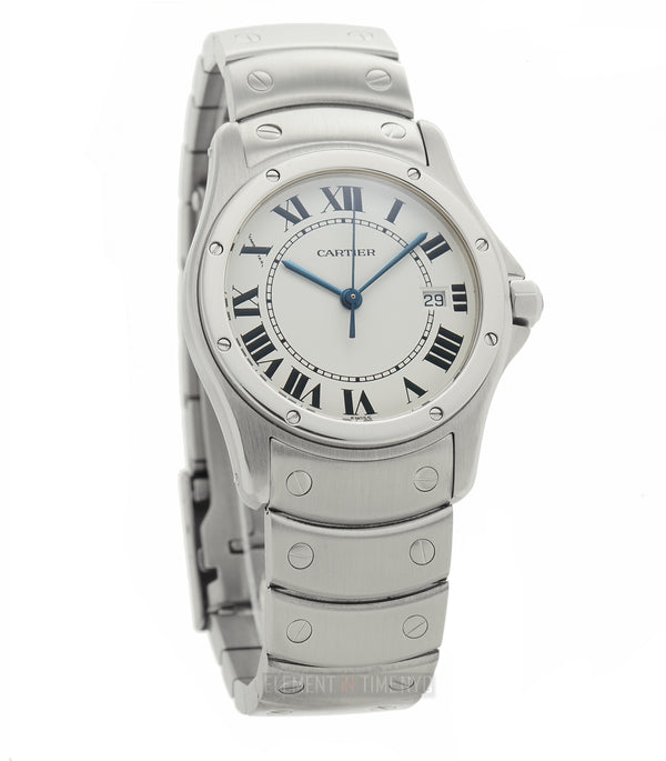 Santos Round Date Stainless Steel 30mm