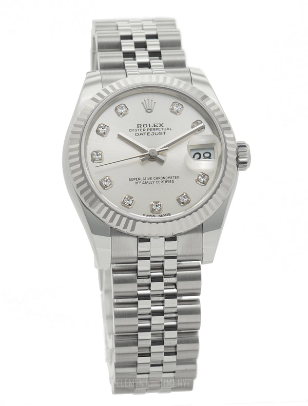 Stainless Steel 31mm Silver Diamond Dial