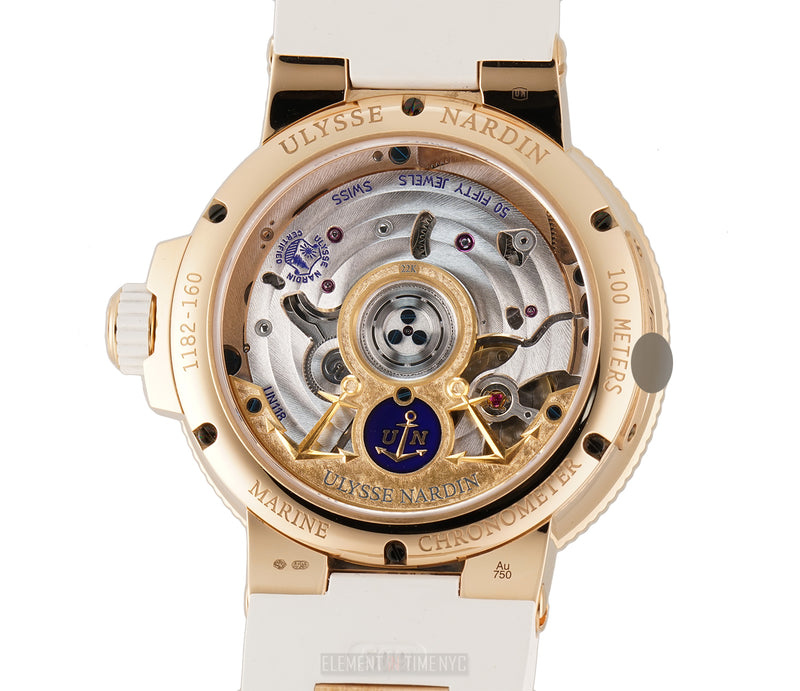 Chronometer Lady 39mm 18k Rose Gold With Diamonds On White Rubber Strap