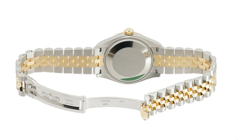 31mm Steel And 18k Yellow Gold Black Mother-of-Pearl Diamond Dial Jubilee Bracelet