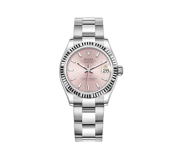 31mm Steel and 18k Fluted Bezel Pink Index Dial Oyster Bracelet
