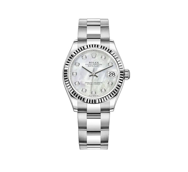 31mm Steel and 18k Fluted Bezel White Mother-of-Pearl Diamond-Set Dial Oyster Bracelet