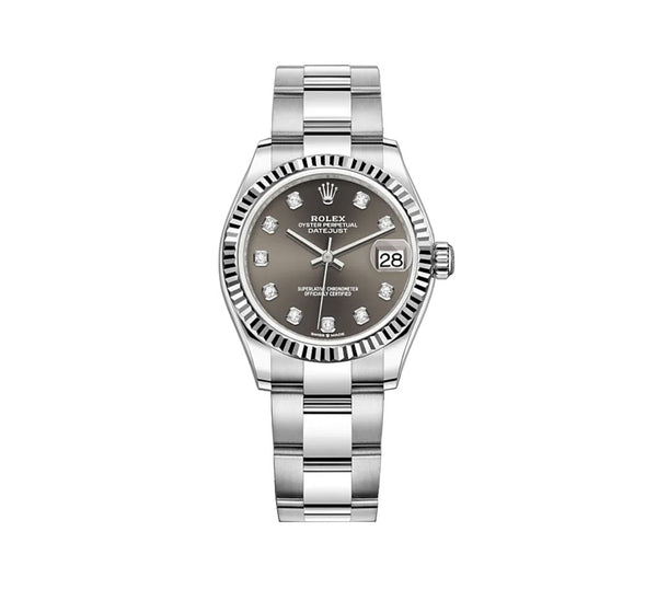 31mm Steel and 18k Fluted Bezel Dark Grey Diamond Dial Oyster Bracelet