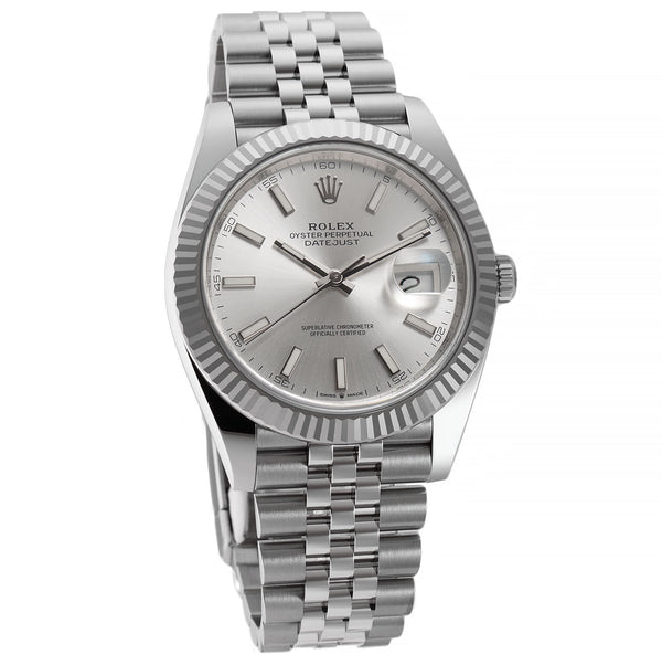 Steel 41mm 18k Fluted Bezel Silver Index Dial Jubilee Bracelet
