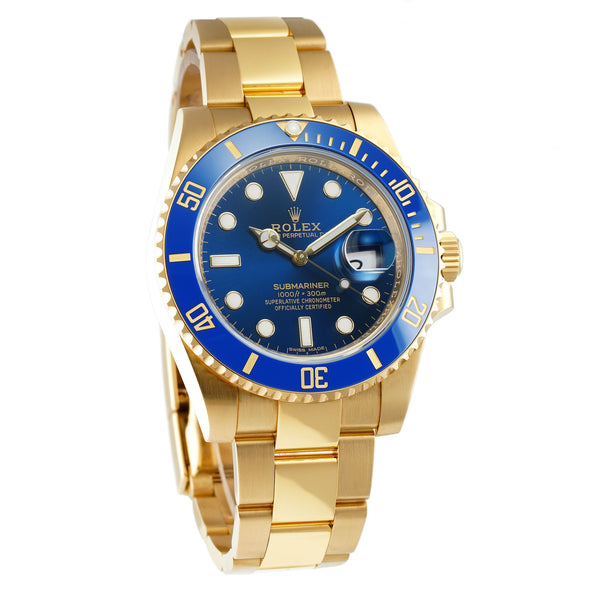 Ceramic Bezel 18k Yellow Gold Blue Dial Full Set 02/2019