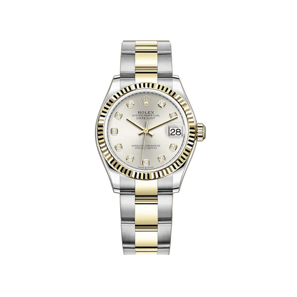 31mm Steel And 18k Yellow Gold Silver Diamond Dial Oyster Bracelet