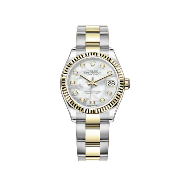 31mm Steel And 18k Yellow Gold White Mother-of Pearl Diamond Dial Oyster Bracelet