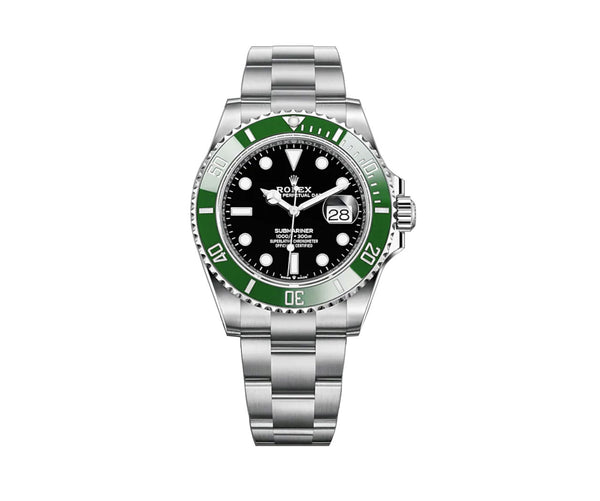 Date 41mm Stainless Green Cerachrom Bezel with Black dial