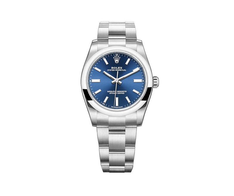 No-Date 34mm Bright Blue Index Dial