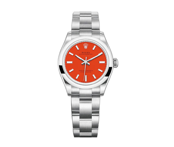 No-Date 31mm Coral Red Dial Oyster Bracelet