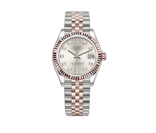 31mm Steel And 18k Everose Gold Silver Set with Diamond Dial Jubilee Bracelet