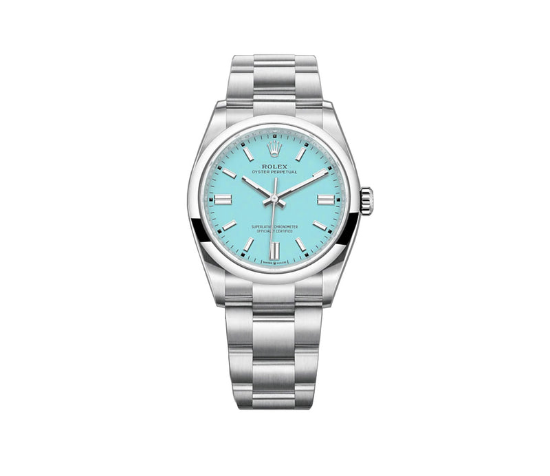 No-Date 36mm Turquoise Blue Index Dial