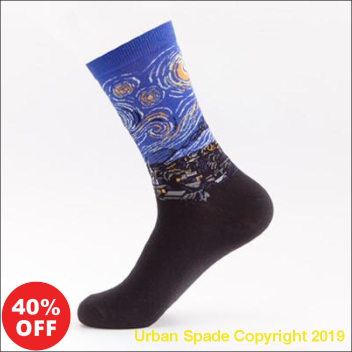 "2019 Stylish New Urban Spade Men's ""Van Gogh"" Print Art Socks (+More Colors) - Urban Spade Exclusive Shop"