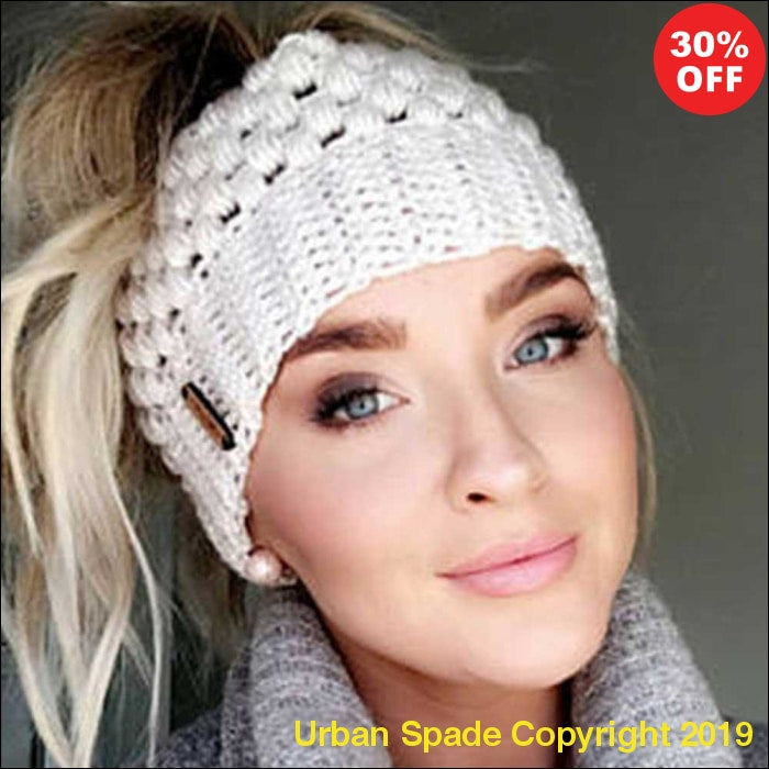 "2019 Ubran Spade ""Womdee"" Trendy Women's  Crouchet Knit Ponytail Beanie Cap (+More Colors) - Urban Spade Exclusive Shop"
