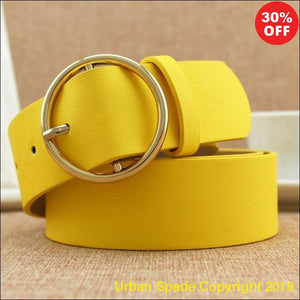 Casual High Quality Classic Round Buckle Women's Leather Wide Belt (+More Colors) - Urban Spade Exclusive Shop