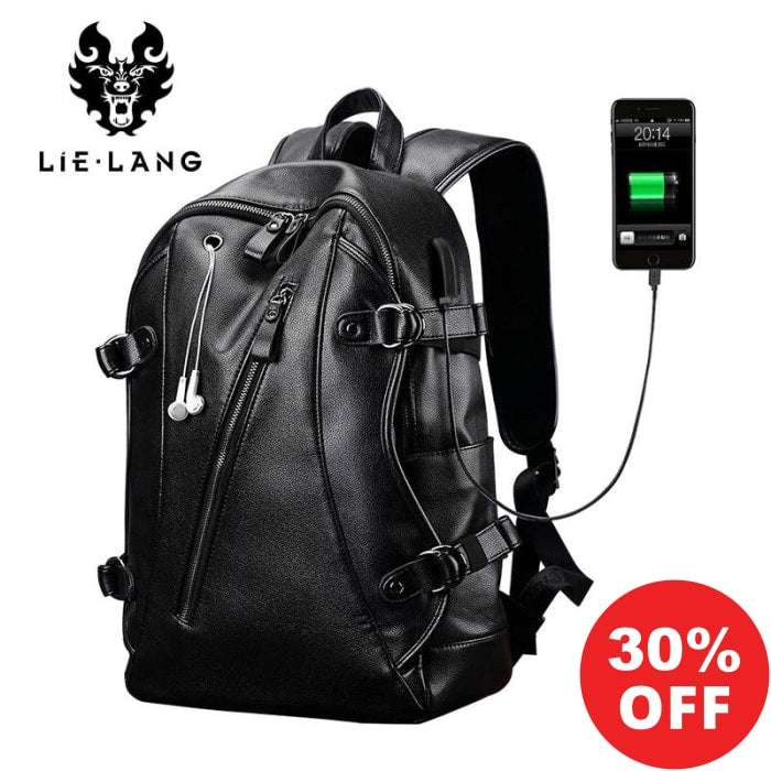 LIELANG 2019 Collection Men's Luxury Leather USB Charge Waterproof Canvas Backpacks (+More Colors) - Urban Spade Exclusive Shop