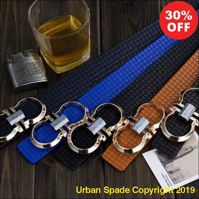 Mens Luxury Printing Leather Smooth Pin Buckle Casual Fashion Waist Strap Belt (+More Colors) - Urban Spade Exclusive Shop