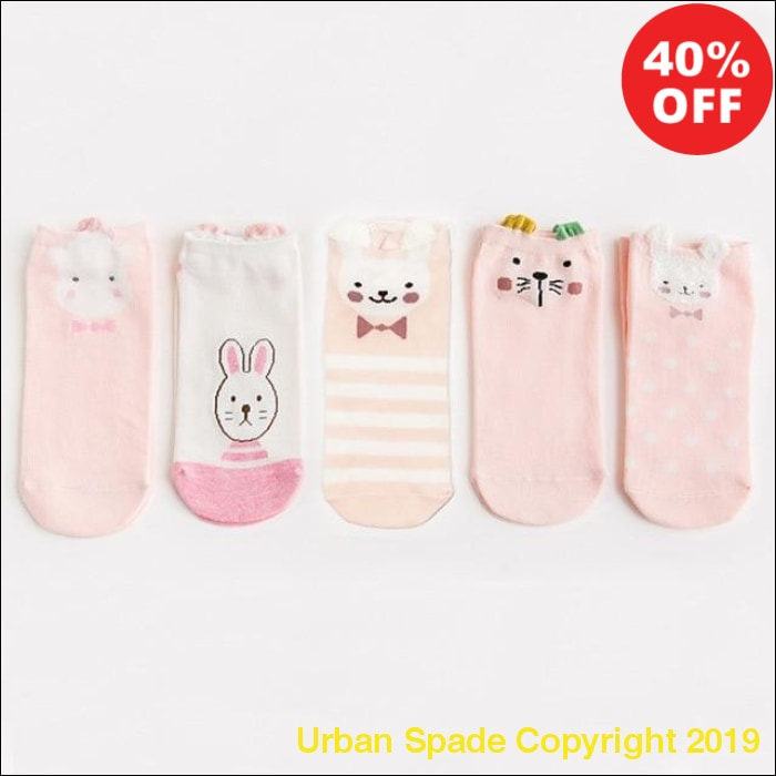 New 2019 Urban Spade Women's Cotton Print Ankle Socks: Pink Cute Cat-Animal Ear-Red Heart (+More Colors) - Urban Spade Exclusive Shop