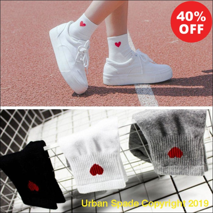 New 2019  Women's Red Heart Pattern Soft Breathable Comfy Cotton Ankle Socks (+More Colors) - Urban Spade Exclusive Shop