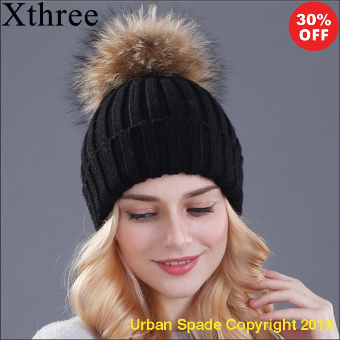 "New 2019 ""Xthree"" Stylish Women's Mink and Fox Fur Ball Knitted Beanie (+More Colors) - Urban Spade Exclusive Shop"