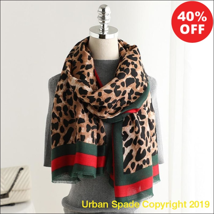 Urban Spade 2019 Women's Linen Leopard Collar Scarves (+More Colors) - Urban Spade Exclusive Shop