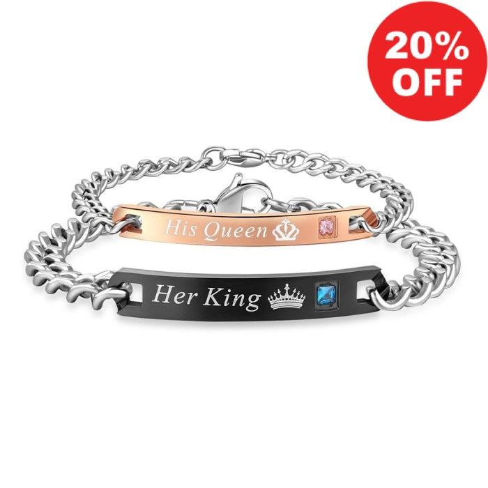 "Urban Spade Exclusive ""Her King/ His Queen"" Stainless Steel Bracelet! Limited Time Only! - Urban Spade Exclusive Shop"