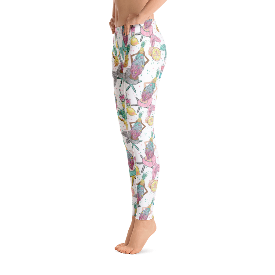 d71ae783e0c25 Mermaid Leggings - White with Tropical Printed Pattern and Lemons