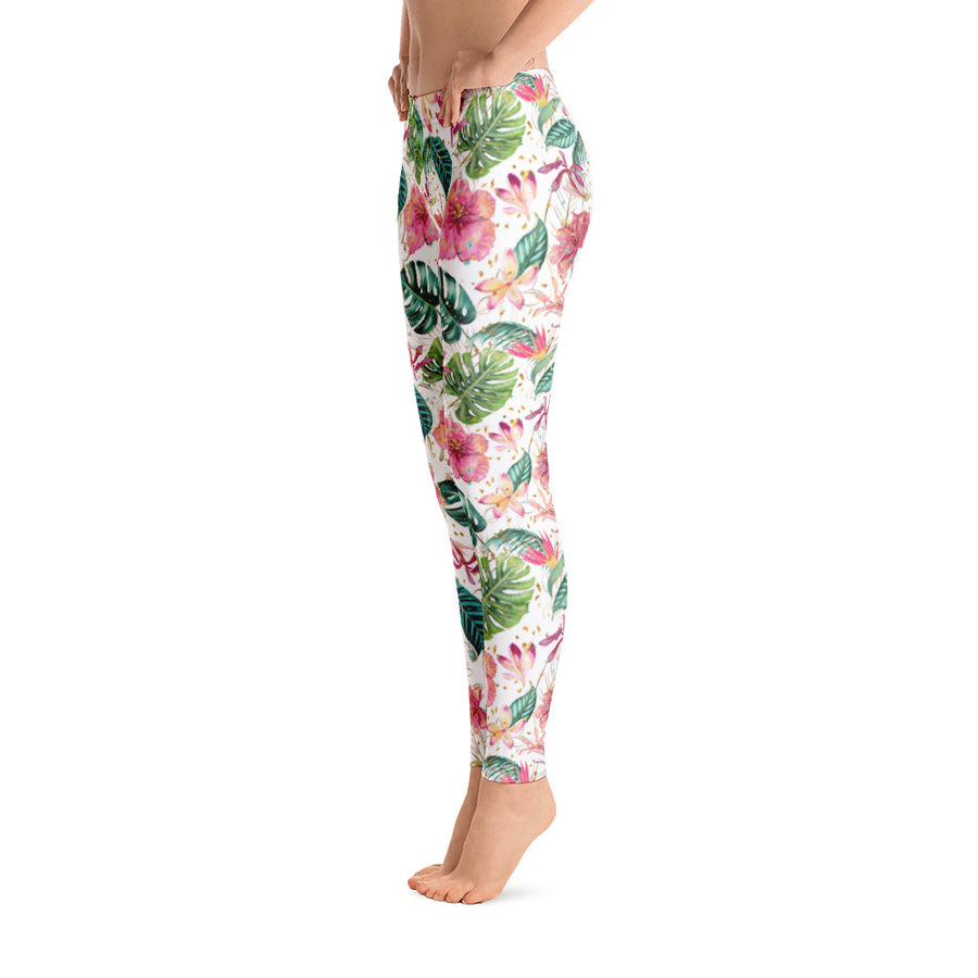 78a095d8db1bd Floral Tropical Leggings - White, Pink and Green Flower Pattern