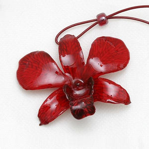 Ruby Dendrobium Orchid necklace