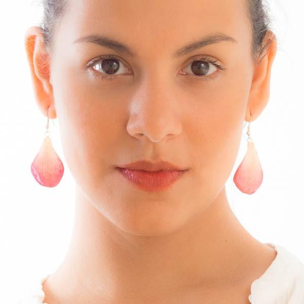 Pink white orchid petal earrings