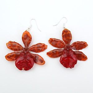 Orange Red Tiger Orchid Earrings