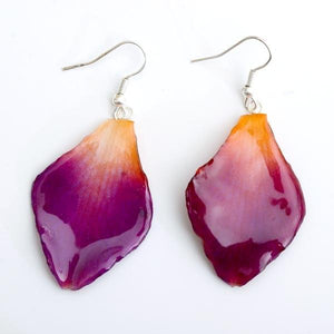 Purple-Orange Dendrobium Orchid Petal Earrings