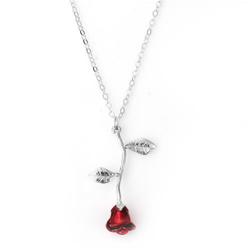 Necklace Silver Plated Rose Flower