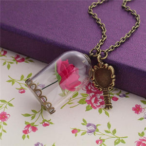 Antique Bronze Red Rose Flower Glass Globe Bubble Bottle Necklace