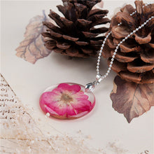Transparent Resin Dried Flower Fuchsia Necklace