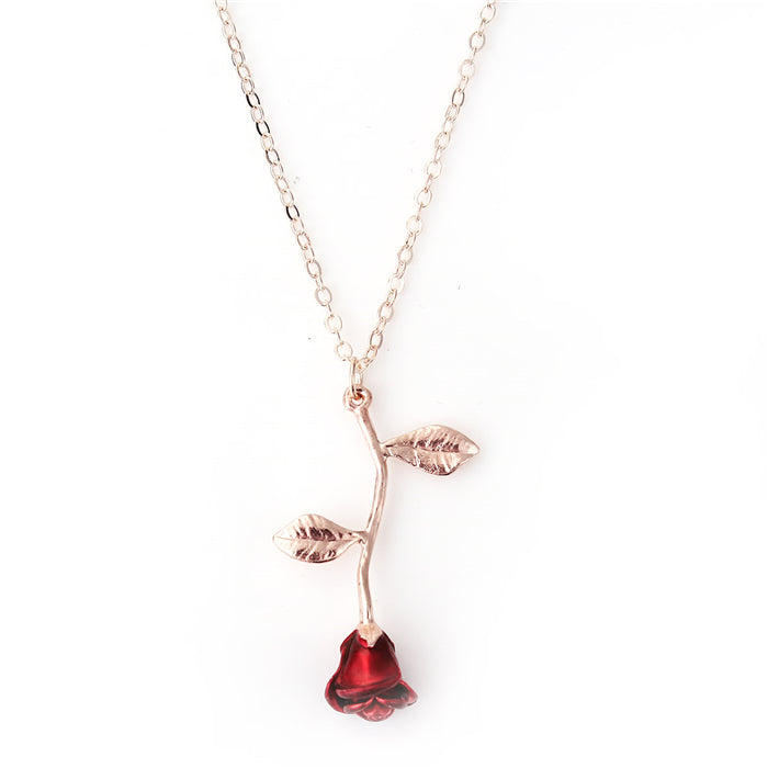 Necklace Rose Gold Red Rose Flower