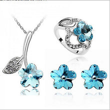 Jewelry Set Elegant Crystal Flowers Pendant Necklace Earring Ring Gift