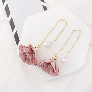 Women's Drop Earrings Imitation Pearl Euramerican Fashion Alloy Flower Jewelry Hot Pink Red Depression Pink Grey Dark Gray Party Daily