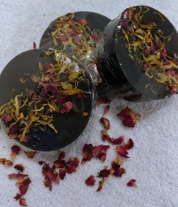 Charcoal soap - unscented, caledula oil, handmade soap, pretty soap, dried flowers, activated charcoal soap