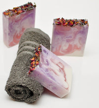 Floral  Exfoliating Soap with  Jojoba Beads and Lavender Rose Petals