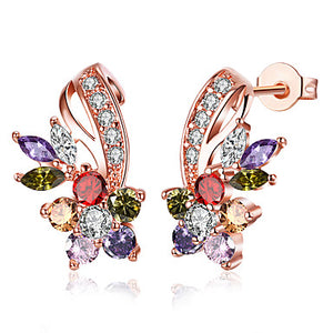Women's Stud Earrings Cubic Zirconia Copper Flower Jewelry White Rainbow Party Casual Costume Jewelry