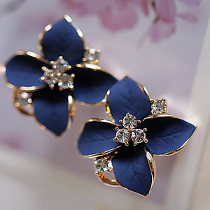 Women's Stud Earrings Drop Earrings Fashion Crystal Gold Plated Imitation Diamond Flower Jewelry White Rainbow Party Daily Casual Costume
