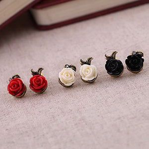 Women's Stud Earrings Resin Alloy Roses Flower Jewelry White Black Red Party Daily Costume Jewelry