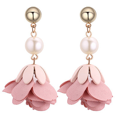 Women's Drop Earrings Imitation Pearl Floral Fashion Copper Fabric Flower Jewelry Red Green Pink Dark Navy Daily Costume Jewelry