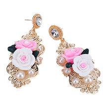Women's Drop Earrings Rhinestone Imitation Pearl Floral Fashion Imitation Pearl Resin Alloy Flower Jewelry Gold Party Going out Costume