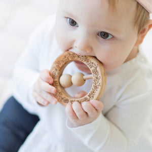 Natural Wooden Teething Rattle Ring