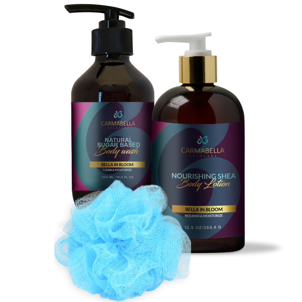 Bella in Bloom (Floral Berry Scent) Lotion, Body Wash and bath poof Set | CarmaBella Skincare