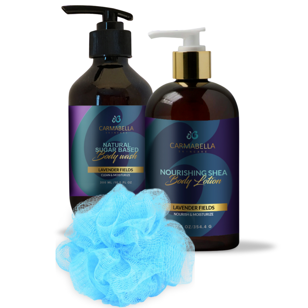 Lavender Fields (Original) Scent Lotion, Body wash and bath poof Set | CarmaBella Skincare
